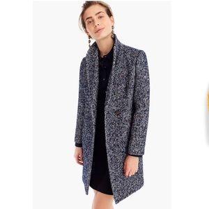 J. Crew || Daphne Tweed Topcoat in speckled blue